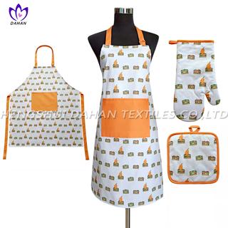 AGP78 Printing apron,oven mitt,pot pad, 3pack.