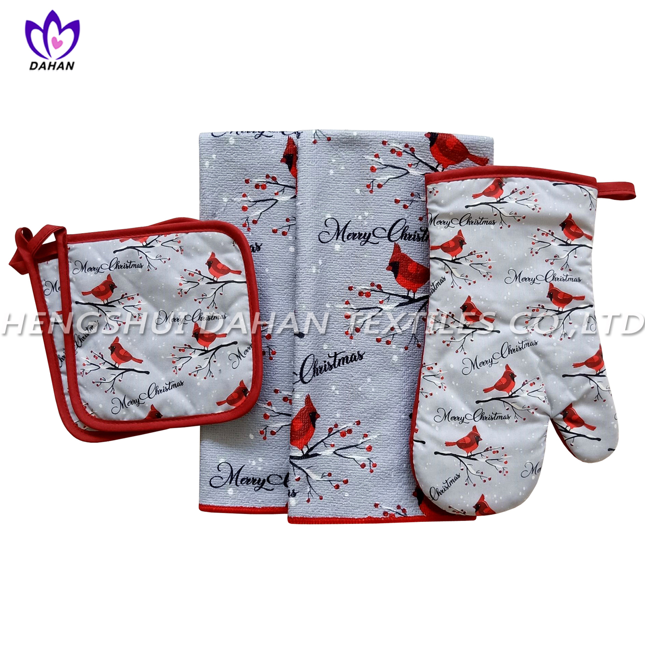 AGP72 printing glove,pot pad, microfiber towel 5pack--Christmas series