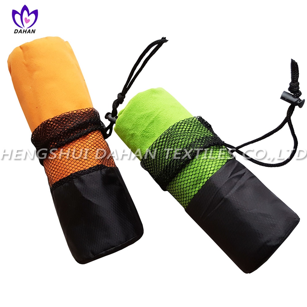 Pure color microfiber mesh bag suede towel.MS18