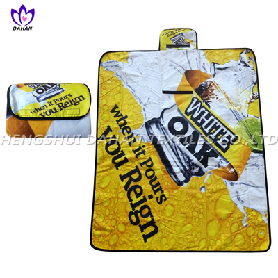 Fleece picnic blanket waterproof picnic mat with printing.PC03