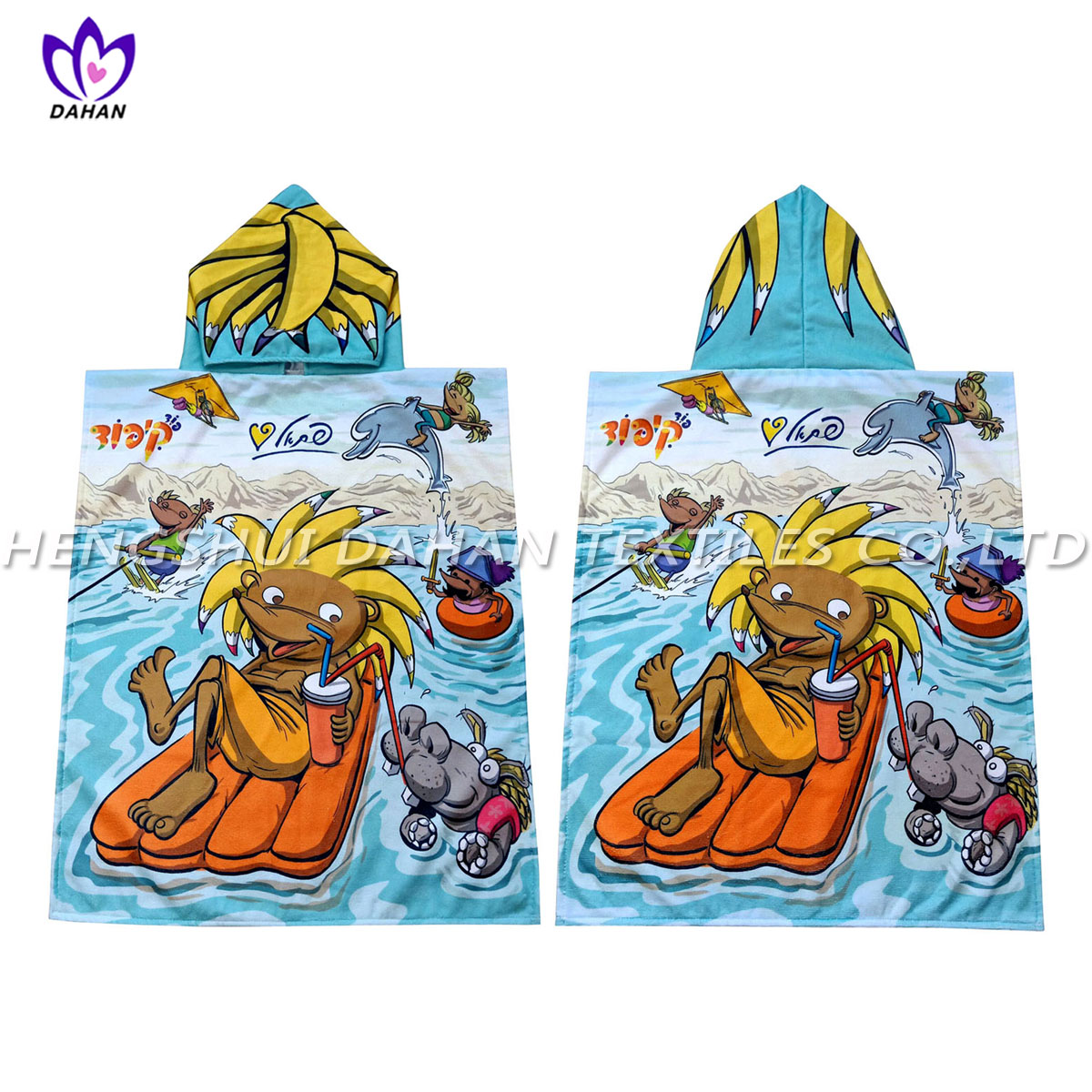 WX226 Microfiber printing beach towel,children's cloak.