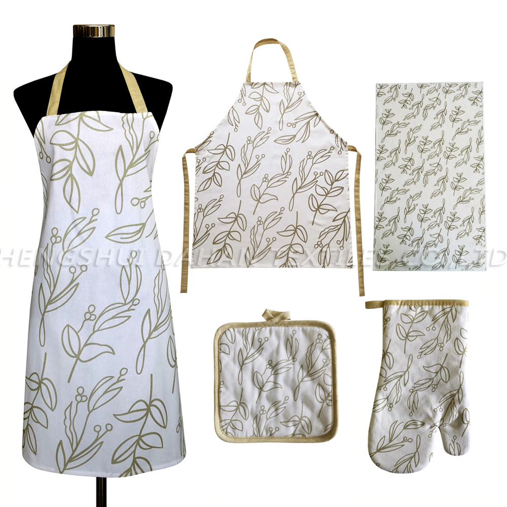 AGP136 Printing apron+glove+pot holder+microfiber towel 4pack.